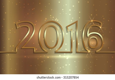 Vector illustration of 2016 new year golden greeting billboard with gold wire
