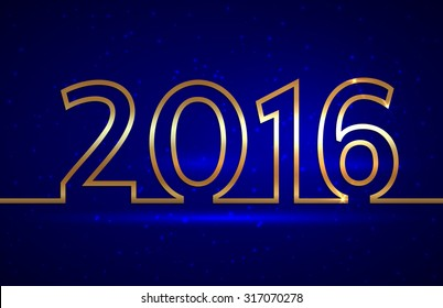 Vector illustration of 2016 new year gold and blue greeting billboard with gold wire
