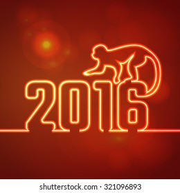 Vector Illustration of 2016 new year Outline neon light BAckground for Design, Website, Banner. Holiday party Element Template. Chinese horoscope Monkey silhouette