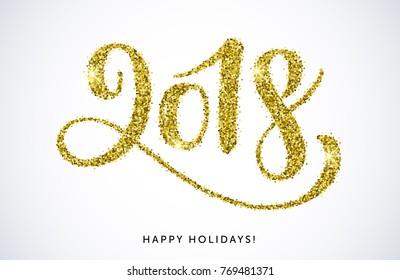 Vector illustration, 2018 hand written lettering. Happy Holidays card design.