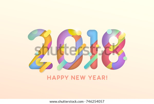 Vector illustration. 2018 Happy New Year. Text on the white background. Abstract design.