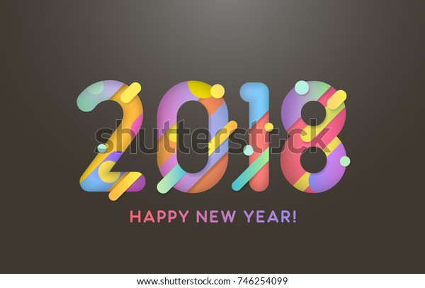Vector illustration. 2018 Happy New Year. Text on the black background. Abstract design.