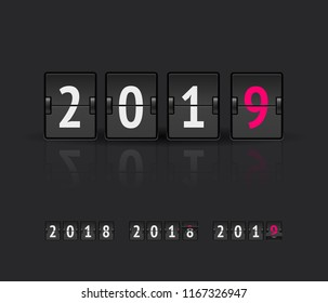 Vector illustration 2019 countdown timer. Happy New Year greeting card design element, banner for web sites