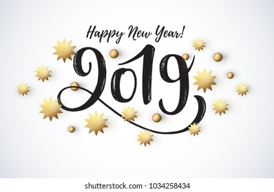 Vector illustration, 2019 hand written lettering. Happy New Year card design element