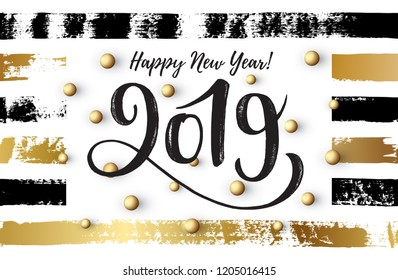 Vector illustration, 2019 hand written lettering. Happy New Year card design with hand drawn stripes.