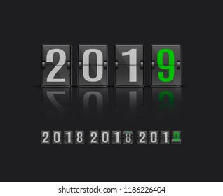 Vector illustration of 2019 new year banner template with flip mechanical timetable in movement - scoreboard with various positions of number in realistic style on black background.