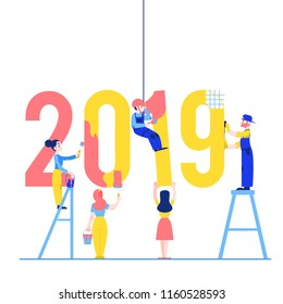 Vector illustration of 2019 text design with people constructing and painting big number isolated on white background - New Year flat congratulation design with builders.