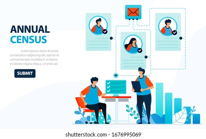 Vector Illustration For 2020 Population Census. Digital Concept With Survey And Check. Can Use For Landing Page, Template, Web, Mobile App, Poster, Banner, Flyer, Background, Website, Advertisement