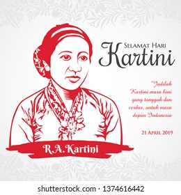 vector illustration 21 April Selamat hari Kartini, Kartini Day. Translation: April 21 Kartini Day in Indonesia happy holiday. graphic for design element