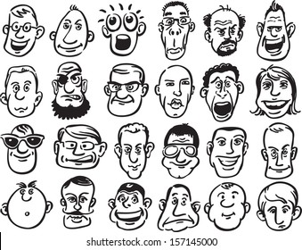 Vector illustration of 24 caricature faces: various facial expression. Easy-edit layered vector EPS10 file scalable to any size without quality loss. High resolution raster JPG file is included.