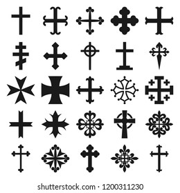Vector illustration of 25 different heraldic crosses isolated on white background