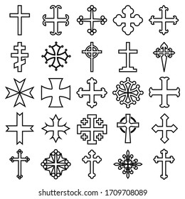 Vector illustration of 25 different heraldic line icons crosses isolated on white background