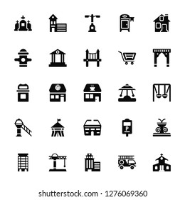 Vector Illustration Of 25 Icons. Editable Pack Cementery, Fire truck, Skyscrapper, Tower crane, Apartment, Arch, Carousel, Stadium, Airport tower, Hydrant, Street light, station