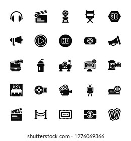 Vector Illustration Of 25 Icons. Editable Pack Headphone, Film counter, Movie Billboard, Cinema borders, clapperboard, Cinematographic Announcer, 1080p HD tv, Camera, theater