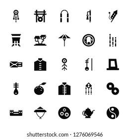 Vector Illustration Of 25 Icons. Editable Pack Bolang gu, Kettle, Xiaolongbao, Bamboo hat, Great wall of china, Bamboo, Erhu, Chinese dress, Pipa, Pot, Nunchaku, Gong