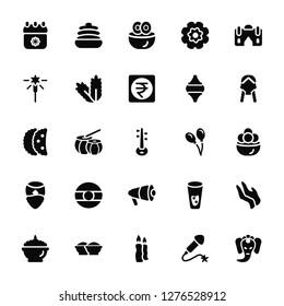 Vector Illustration Of 25 Icons. Editable Pack Calendar, Fireworks, Candle, Powder, Phirni, Woman, Balloon, Megaphone, Man, Sparkler, Sandesh, Cake