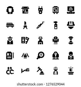 Vector Illustration Of 25 Icons. Editable Pack Shield, Prisoner, Judge, Cctv, Handcuffs, Helmet, Shder, Fingerprint, Death certificate, Prisoner transport vehicle, Electroshock weapon, Evidence