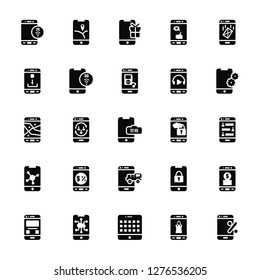 Vector Illustration Of 25 Icons. Editable Pack 2g, Shopping bag, Tablet, Cloud computing, Gallery, Settings, Delivery truck, Sharing, Application, Gift, Gps