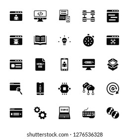 Vector Illustration Of 25 Icons. Editable Pack Profile, Keyboard, Api, Cogwheel, Browser, Monitor, Microchip, Responsive, Coding