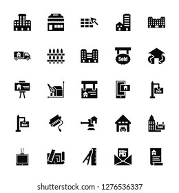 Vector Illustration Of 25 Icons. Editable Pack Buildings, Newsletter, Measure, print, Tv, Exchange, Support, Juridical, For rent, Delivery truck, Construction, Market