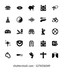 Vector Illustration Of 25 Icons. Editable Pack Shinto, Cross, Dove, Bible, Rosary, Hinduism, Prayer, Stained glass, Holy star, Church, Lamb, God