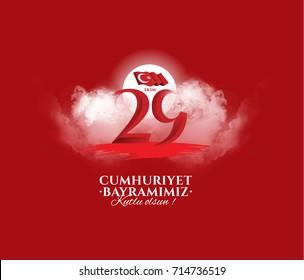 vector illustration 29 ekim Cumhuriyet Bayrami kutlu olsun, Republic Day Turkey. Translation: 29 october Republic Day Turkey and the National Day in Turkey happy holiday. graphic for design elements