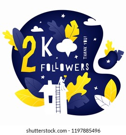 Vector illustration of 2k subscribers celebration banner with house, leaves and woman silhouettes. Hand drawing lettering composition for thanks design template.