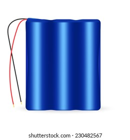 Vector illustration of 3 cell li-ion battery pack with wires. isolated