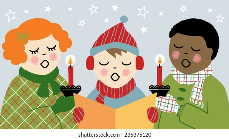 Vector Illustration of 3 Children Christmas Caroling with candles and song book