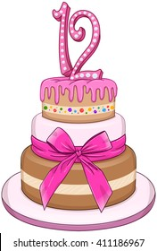 Vector illustration of 3 floors pink cake with the number 12 on top for Bat Mitzvah.