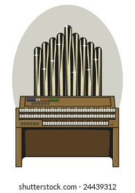 vector illustration of a 3 tiered vintage pipe organ.. bottom keys contained in clipping mask