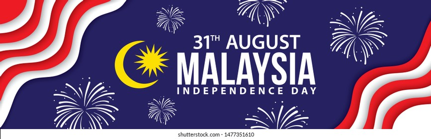 Vector illustration of 31 AUGUST HAPPY INDEPENDENCE DAY and Malaysia flag pattern.