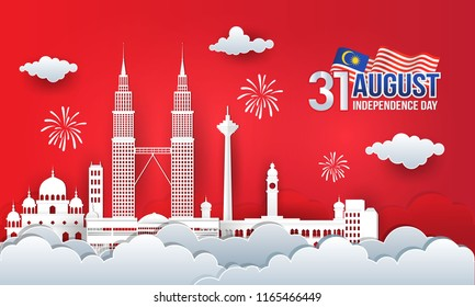 Vector illustration of 31th August malaysia Independence Day celebration with city skyline, malaysia flag and fireworks in paper cut style.