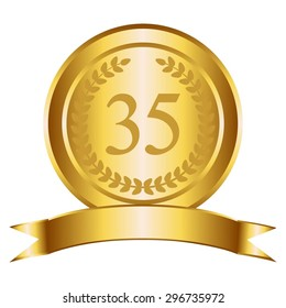 Vector illustration of 35 the anniversary. Gold award, gold ribbon and laurel wreath on a white background.