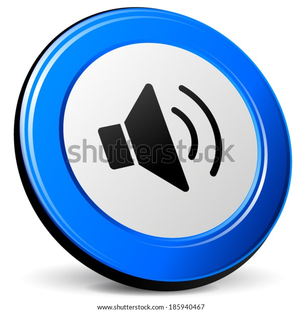 Vector illustration of 3d blue sound icon on white background
