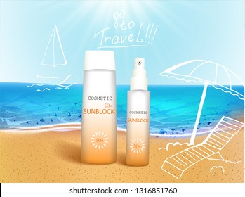 Vector illustration. 3d bottles with sun protection cosmetic products on tropic beach with hand draw doodle element. Sunblock cream and tanning oil spray bottle. Template, for magazine or ads