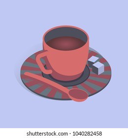 Vector illustration with 3D coffee cup with pieces of sugar in isometric flat style