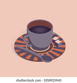 Vector illustration with 3D coffee cup with pieces of sugar in isometric flat style on pink background