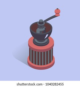 Vector illustration with 3D coffee grinder. Coffee mill in isometric flat style. Vintage mill