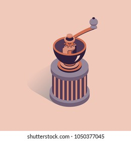 Vector illustration with 3D coffee grinder. Coffee mill in isometric flat style. Vintage mill on pink background