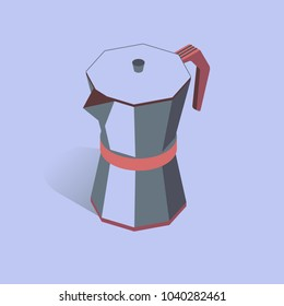 Vector illustration with 3D coffee moka pot. Coffee container in isometric flat style. Vector illustration