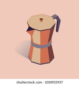 Vector illustration with 3D coffee moka pot. Coffee container in isometric flat style. Vector illustration on pink background