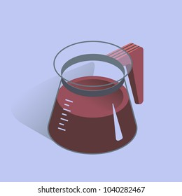 Vector illustration with 3D coffee pot. Coffee container in isometric flat style. Vector illustration