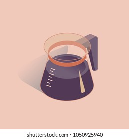 Vector illustration with 3D coffee pot. Coffee container in isometric flat style. Vector illustration on pink background