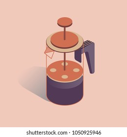 Vector illustration with 3D coffee pot FRENCH PRESS. Coffee maker in isometric flat style on pink background