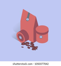 Vector illustration with 3D coffee coffee present box with beans in isometric flat style. Paper cup with bean sign