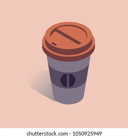 Vector illustration with 3D coffee take away cup in isometric flat style. Paper cup with bean sign