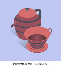 Vector illustration with 3D coffee or tea pot with cup. Kettle in isometric flat style on blue background