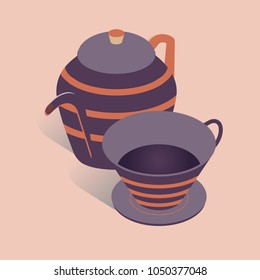 Vector illustration with 3D coffee or tea pot with cup. Kettle in isometric flat style on pink background