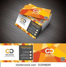 Vector illustration of 3D creative business card mockup.